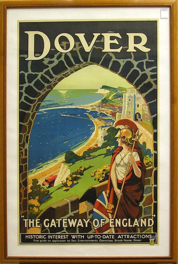 Travel and Destination poster showing the figure of Britannia with Dover Harbour and Marina (Wellington Dock, Granville Dock, and Tidal Harbour) in the background. On the skyline is Shakespeare Cliff overlooking the English Channel. Also depicted are the Admiralty Pier, Prince of Wales Pier, Beach, Seafront, and Western Heights. The tower above the figure of Britannia's head is based on Dover Castle's Peverell Gateway, shown on Pinterest at http://pinterest.com/pin/519532506983347006…