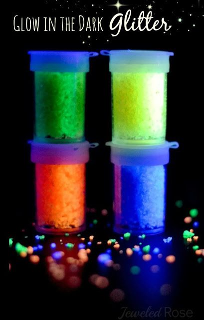 Make your own glow in the dark glitter using only TWO ingredients- how fun!