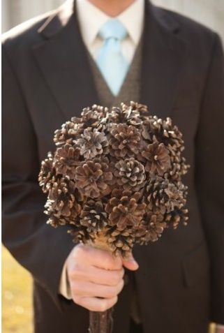 Pine Cone Wedding Bouquet from rusticweddingchic.com