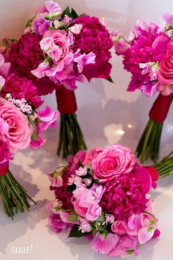 Fuchsia Wedding Bouquets / http://www.deerpearlflowers.com/fuchsia-hot-pink-wedding-color-ideas/