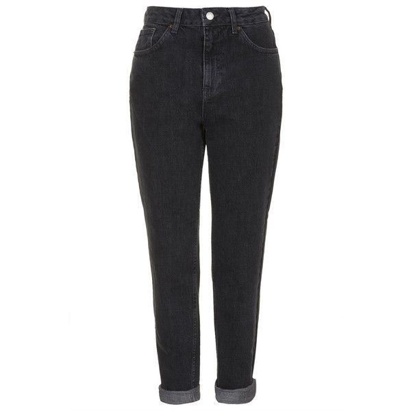 TOPSHOP MOTO Washed Black Mom Jeans (96 AUD) ❤ liked on Polyvore featuring jeans, pants, bottoms, trousers, black, black high waisted jeans, topshop jeans, highwaist jeans, high-waisted jeans and black skinny jeans