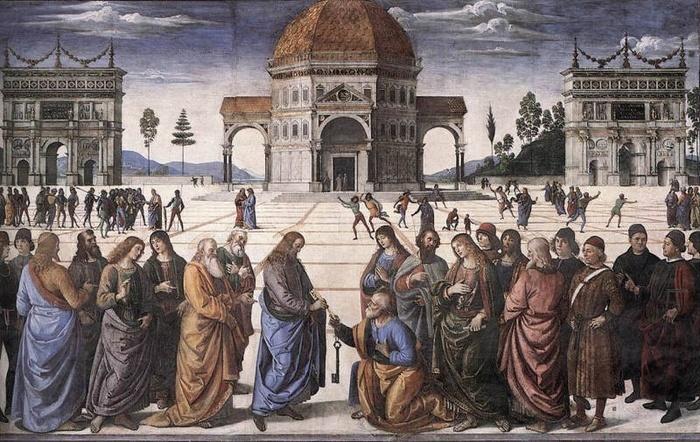 """2005.17 // Pietro Vannucci, zwany Perugio """"Wręczenie kluczy św. Piotrowi"""", fresk, 1481–1482 Kaplica Sykstyńska, Watykan"""