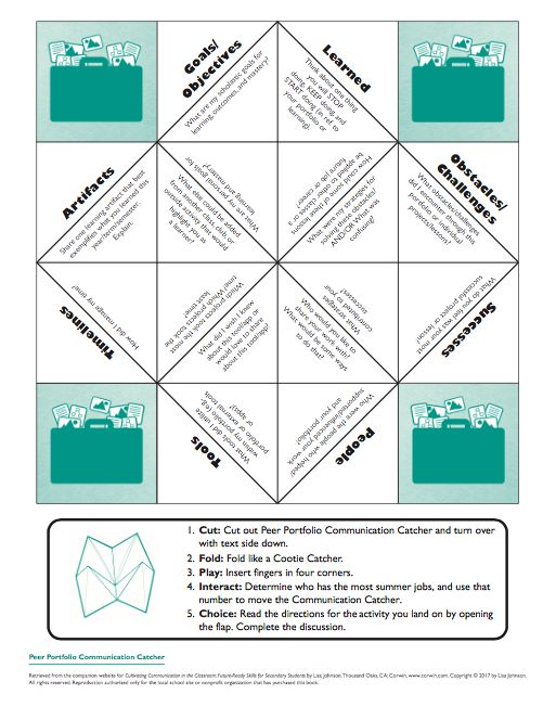 """Portfolio Assessments Meet Peer Evaluation - FREE PDF Fortune Teller/Communication Catcher download. (Check out the Book """"Cultivating Communication in the Classroom"""" for more ways to use this tool.)"""