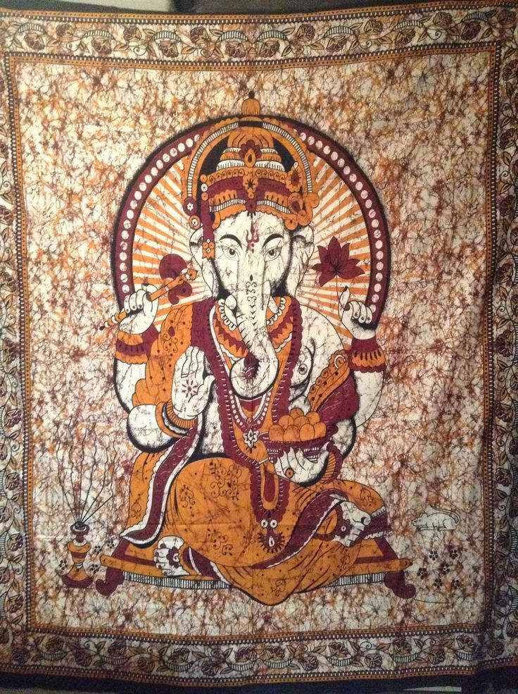 Wandtuch / Bettüberwurf Indischer Gott Ganesha,mehrfarbig Batikstil BW 240x200cm in Möbel & Wohnen, Bettwaren, -wäsche & Matratzen, Bettwäsche | eBay