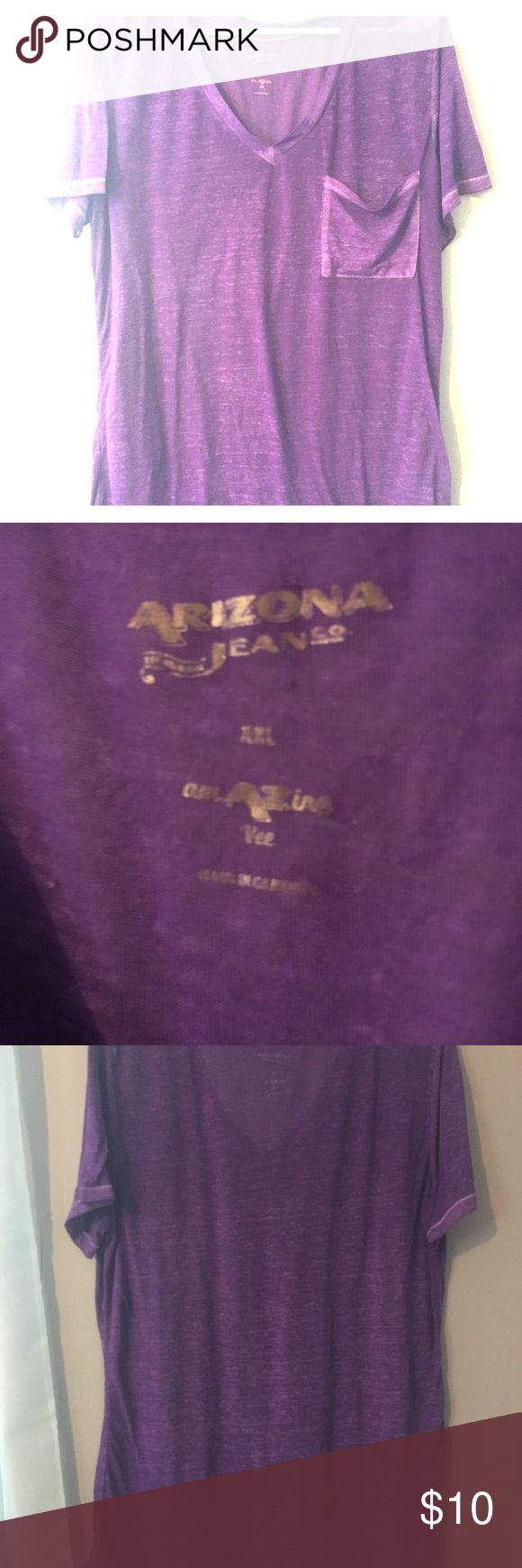 Arizona slouchy tee Arizona slouchy tee. Beautiful purple color. Thin, burnout style. Very very soft material. Size xxl juniors. NWOT! Arizona Jean Company Tops Tees - Short Sleeve