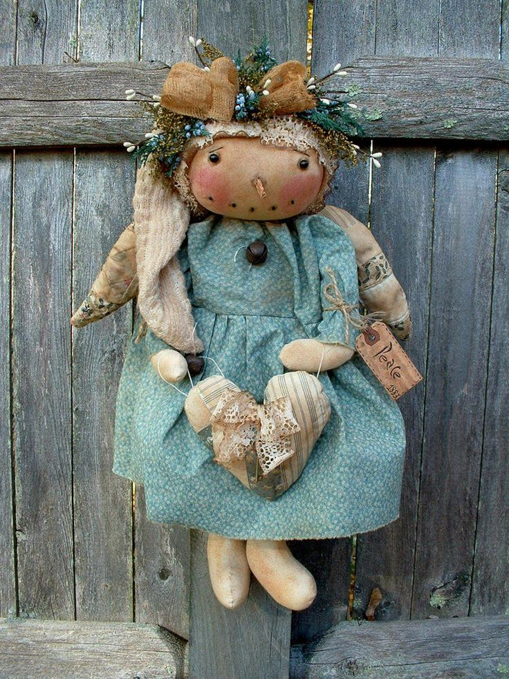 PRIMITIVE CHRISTMAS/WINTER SNOWMAN GAL ANGEL DOLL~VINTAGE BLUE QUILT WINGS/HEART #NaivePrimitive #seller