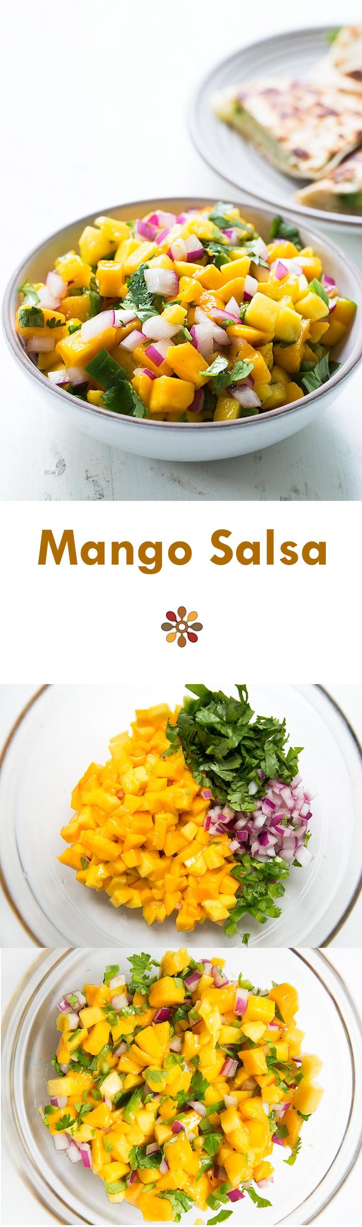 Fresh Mango Salsa! with fresh diced mango, red onion, jalapeno, cilantro and lime. Perfect with seafood. Healthy and easy on  SimplyRecipes.com