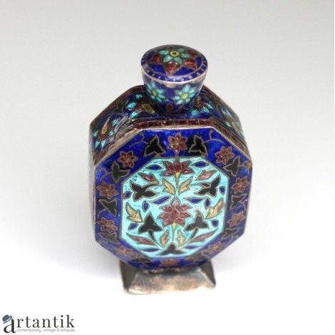 Rafinat flacon pentru parfum - argint emailat - China cca 1930