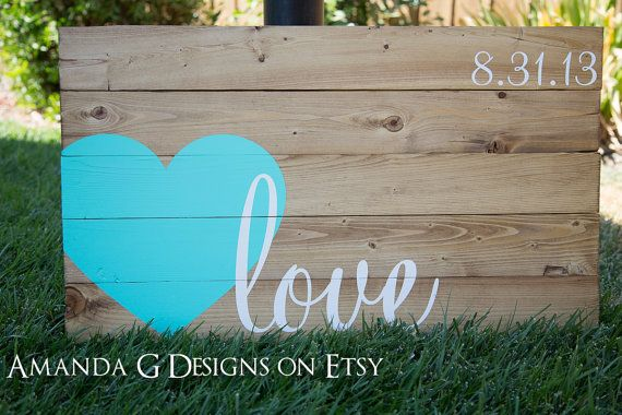 Love hand painted wood sign with wrap-around heart. Wedding guest book alternative