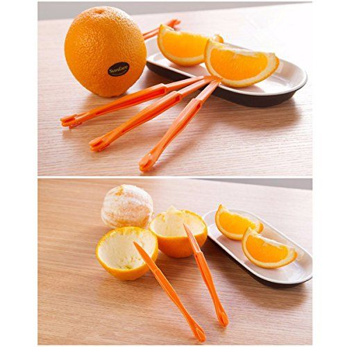 Package list:5pcs Orange Citrus Lemon Peeler 2pcs Garlic Peeler (Random Color)1pcs Cantaloupe Peeler 1pcs Avocado Slicer1pcs Banana Slicer1pcs Stainless Steel Julienne Vegetable Peeler with Cleaning Brush What is included: 5x Orange Citrus Lemon Peeler, 2x Garlic Peeler, 1x Cantaloupe Peeler, 1x Avocado Slicer, 1x Banana Slicer, 1x Stainless Steel Julienne Vegetable Peeler 11pcs FRUIT SLICER PEELER