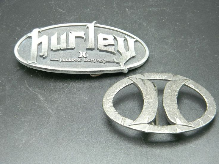 Hurley International Belt Buckle Lot of 2 Classic H Oval Freedom Co Lead Free #Hurley #Classic