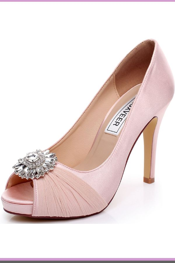 640f0a6f8c3 LUXVEER Wedding Shoes Combining Satin Lace and Rhinestone Brooch High Heel  4.5inch-Peep Toe