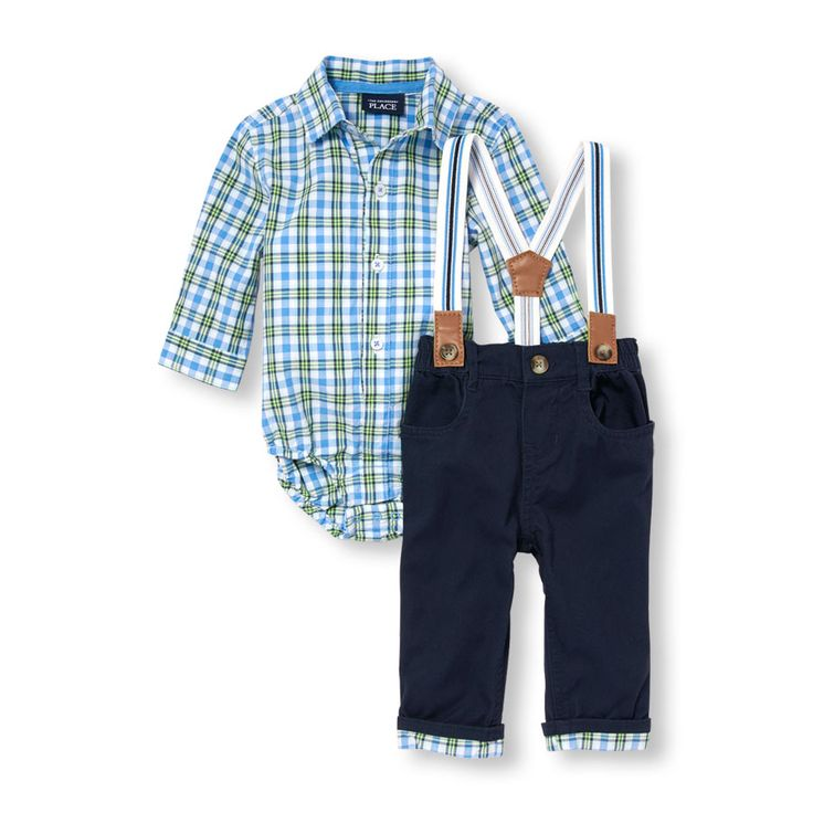 Baby Boys Long Sleeve Plaid Button-Down Shirt Striped Suspenders And Plaid-Cuff Pants Set