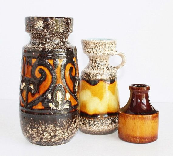 "Large German Fat Lava Pottery Vase (8.5"") / Caramel Black"