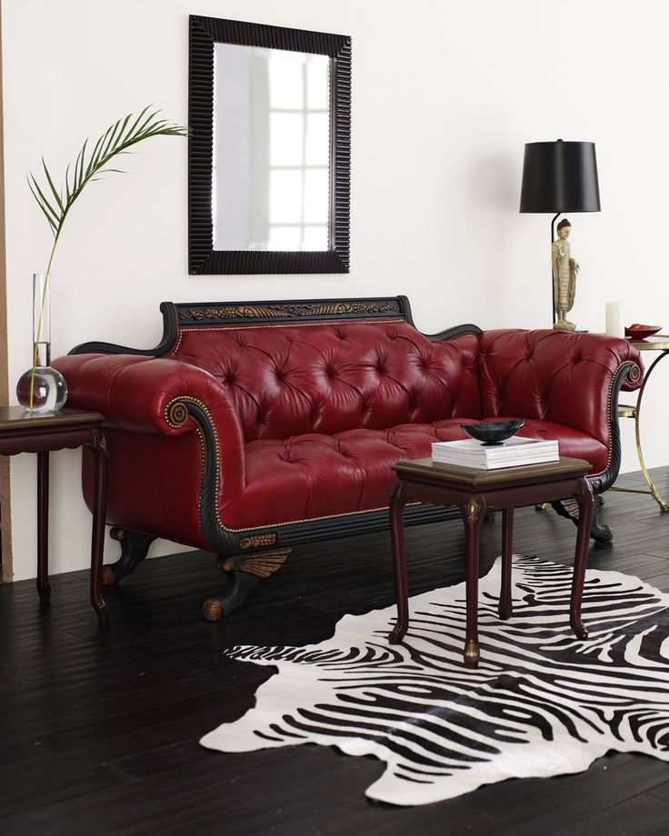 Red Tufted-Leather Sofa & Loveseat by Old Hickory Tannery