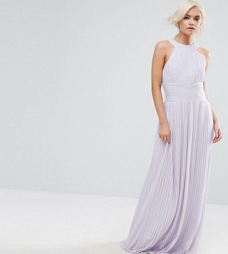 TFNC Petite Wedding High Neck Pleated Maxi Dress - Purple