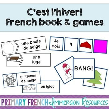 French winter / l'hiver - Mini book and centres. Teach winter vocabulary to your French Immersion or Core French students!
