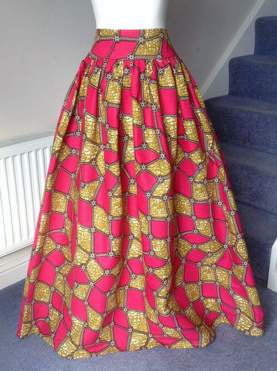 African Maxi Skirt  Printed Cotton  3.5 High by MasheesGiftShop