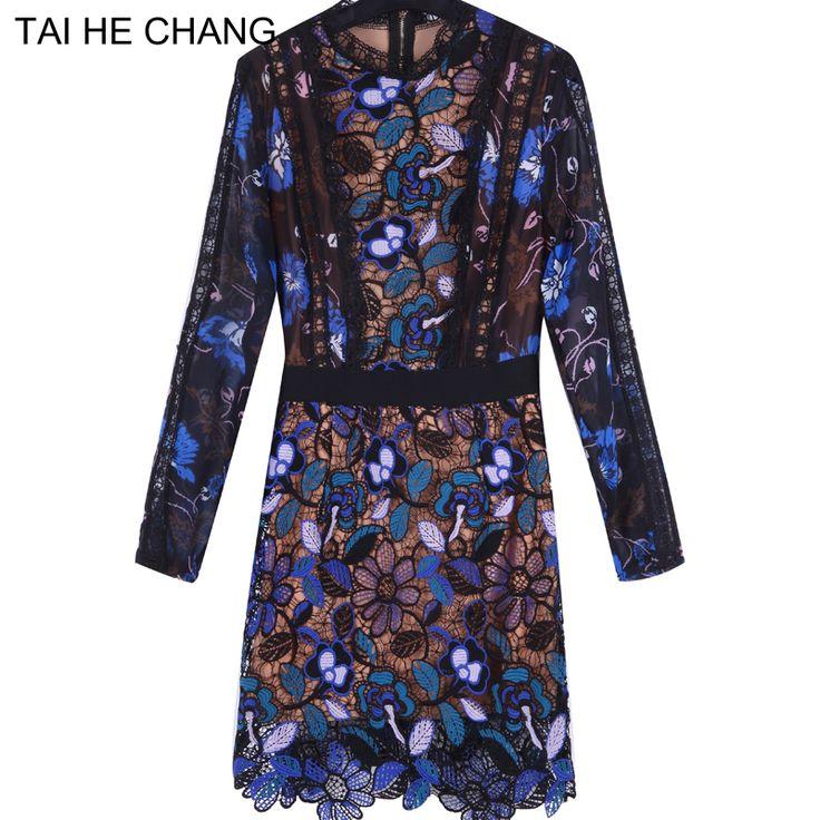Высокого качества осень 2017 Для женщин платье мода взлетно-посадочной полосы Винтаж Мини Длинные рукава кружевные пикантные vestidos bodycon тонкий летнее платье