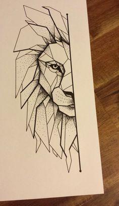 geometric lion tattoo - Google Search