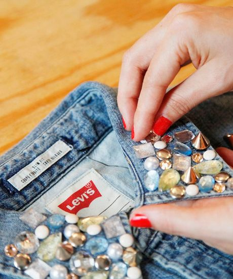Denim DIY, redesign your old recycled denim shirts, shorts, jeans for Jeans for Genes day !