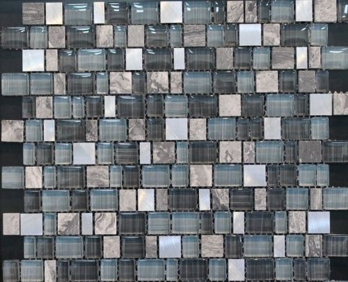 Blue Grey Glass/Stone Mix - Blend of blue/grey glass mosaic tile with grey natural stone.
