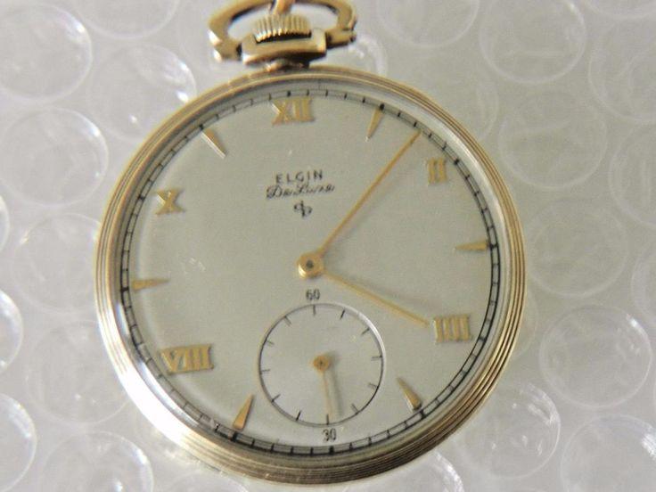 pOCKET WATCH ANTIQUE VTG ELGIN DE LUXE 10K GOLD FILLED 17 JEWELS WORKS neocurio #Elgin #pocketwatch #ebay  #neocurio #timepiece #romannumerals #watches