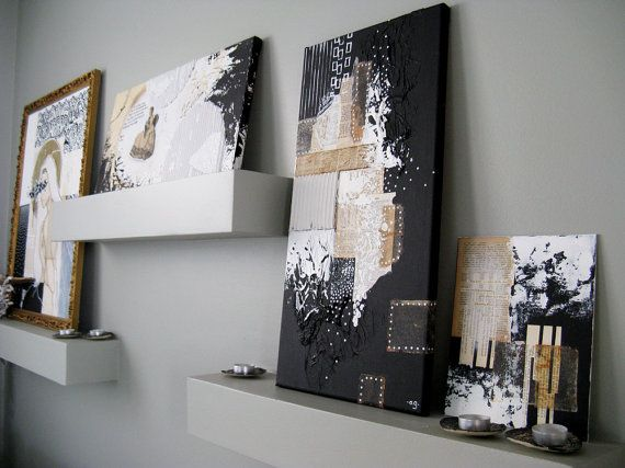 abstract painting on canvas. black and white modern by ancagray