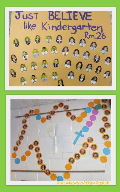 classroom themes for catholic school | Catholic School Bulletin Boards, Rosary Bulletin Board