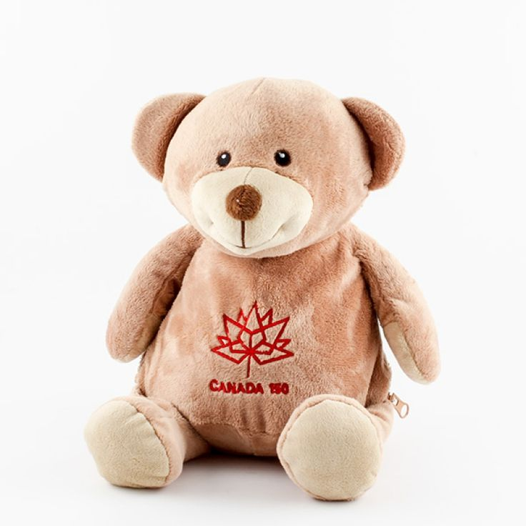 Canada 150 Bear - There is no cuter way to celebrate and honour Canada's 150th Birthday than with this adorable embroidered bear. The official Canada 150 logo comes already embroidered on the bear's tummy as shown. A great keepsake for any child or the young at heart!