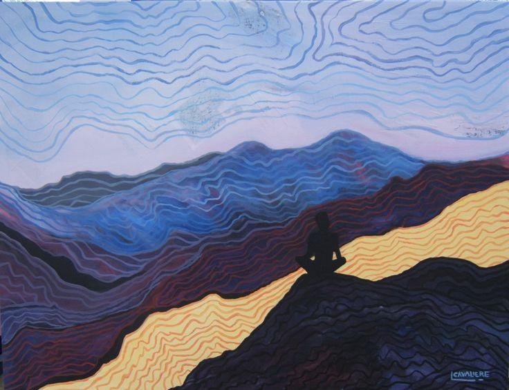 Meditative: acrilico su tela + ritagli di giornale: cm.118 x 88 anno 2014