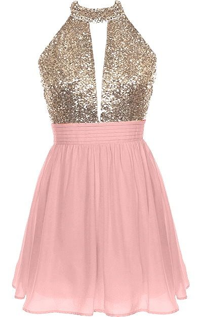 Halter Bomb Dress: Features an ultra-elegant halter neck design with a cleverly cut opening to the front, glittering rose gold bodice teamed with a sexy open back, and a twirl-worthy pink A-line skirt to finish.