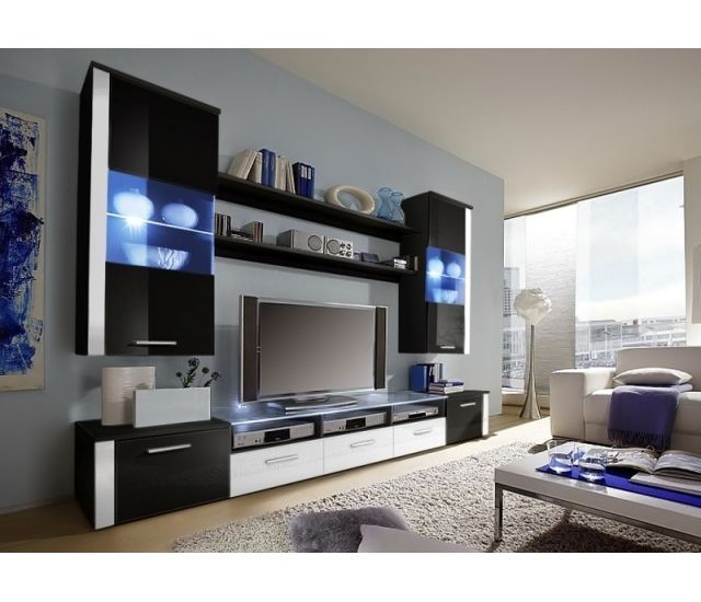 "TV WALL UNIT  ""F2""  BLACK GLOSS in Home, Furniture & DIY, Furniture, TV & Entertainment Stands 