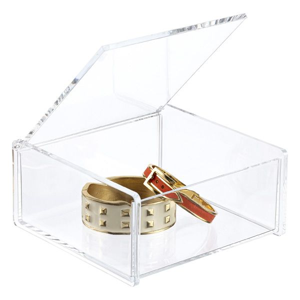 Acrylic Square Hinged-Lid Box   The Container Store
