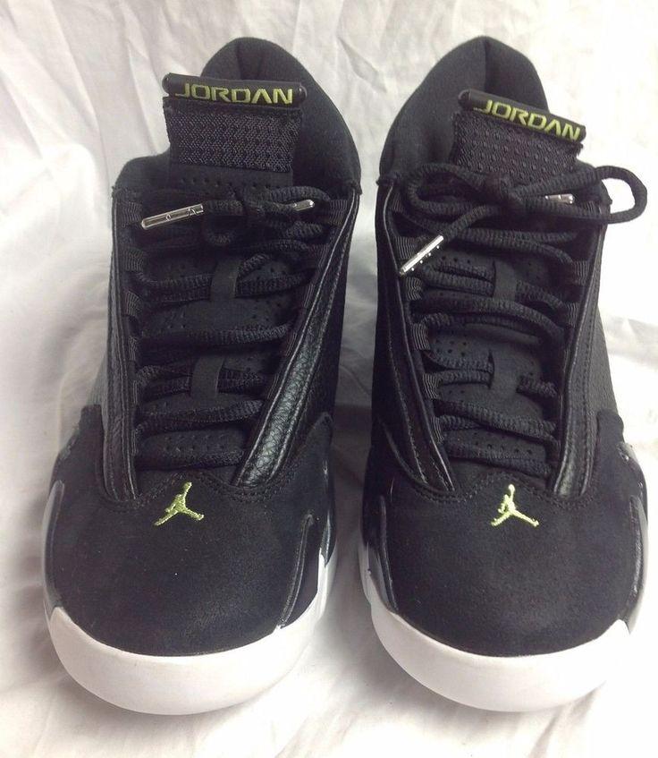 Nike Air Jordan Retro 14 Indiglo 487471 Black White Basketball Shoes Mens 8.5 #Nike #BasketballShoes