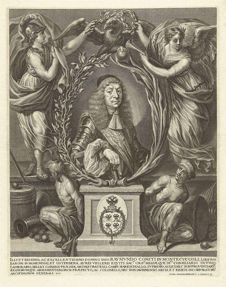 Richard Collin | Portret van Raimondo Montecuccoli, Richard Collin, unknown, c. 1674 - c. 1680 | Portret van de Italiaanse generaal Raimondo Montecuccoli. In een ovale omlijsting van palm en olijftakken. Het portret staat op een sokkel met het familiewapen van Montecuccoli. Aan weerszijden twee Turkse gevangenen die verwijzen naar Montecuccoli's successen in de oorlog tegen de turken. Boven het portret een adelaar, die gekroond wordt door Minerva en de Vrede.