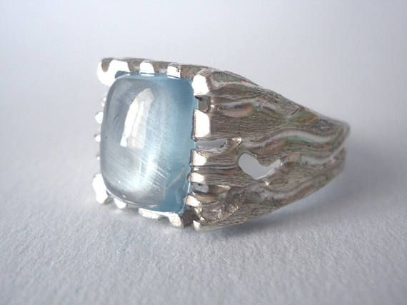 FREE SHIPPING Natural Aquamarine Men's Ring Made To Order