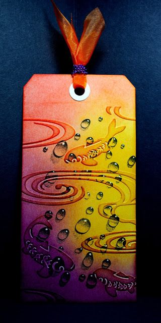 Eileen's Crafty Zone: Designs by Ryn... The Famous Water Droplets! Distress Inks background.