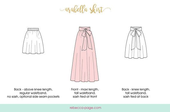 The Arabella is a gorgeous ladies maxi skirt pattern. An easy & quick sew with lots of options, its a perfect beginner skirt pattern! Options: - 4 different lengths (above knee, knee, midi/tea, and maxi lengths) - 2 waistband heights (regular and tall) - Optional sash - Optional side