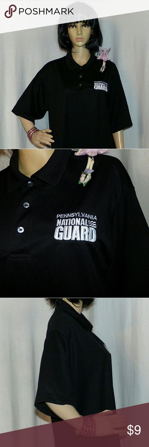 Pennsylvania National Guard  Polo Shirt Really nice in as new condition this is an Embroidered Polo shirt black in color. It is made of 100 percent polyester so it's a higher end brand. Almost like a dry fit very nice. Totally checked over by our crack team of inspection fairies and given their two wings  up kiss of approval so you can buy with confidence PA National  Guard Tops Button Down Shirts