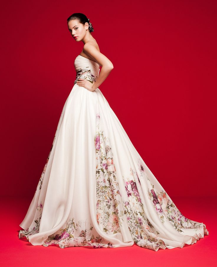 LVS 352  Corset wedding dress made of the finest printed organza