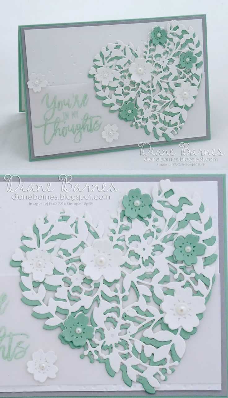 handmade sympathy card using Stampin Up Bloomin Heart dies, Bloomin Love stamp set & Thoughtful Branches. By Di Barnes #colourmehappy 2016-17 annual catalogue More
