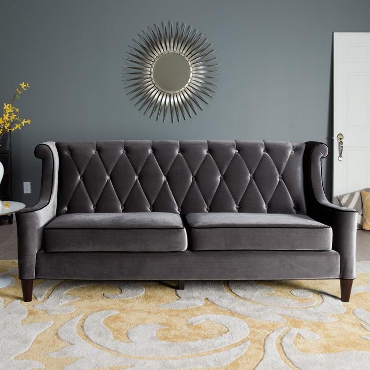Armen Living Barrister Gray Velvet Sofa