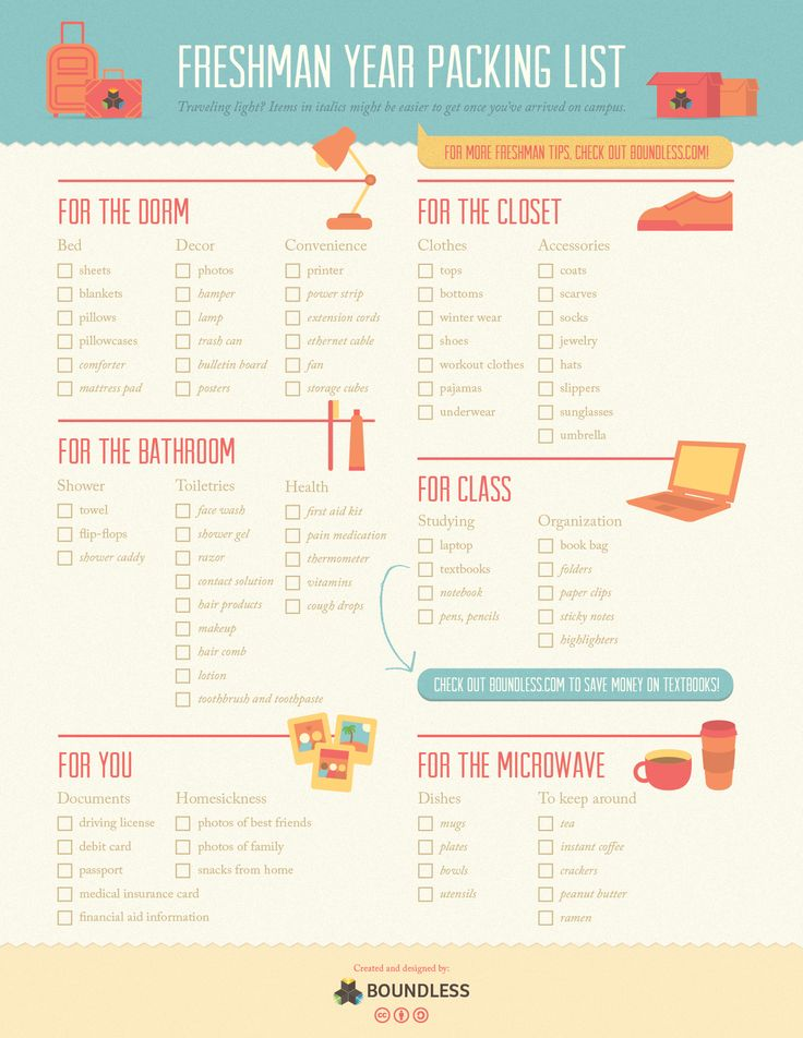 Freshman Year College Packing List [Infographic] - Boundless Bloghttp://blog.boundless.com/2013/08/freshman-year-college-packing-list-infographic/?utm_source=boundless-twitter_medium=tweet_campaign=boundless-social