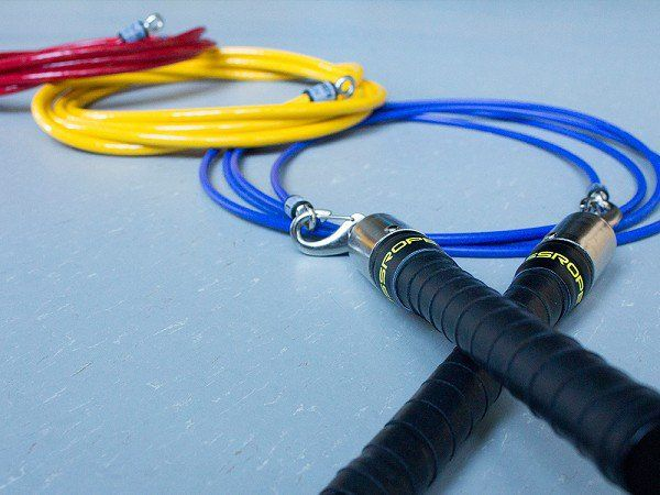 This weighted jump rope, discovered by The Grommet, has interchangeable steel core cables and easy-grip handles engineered to for total body conditioning.