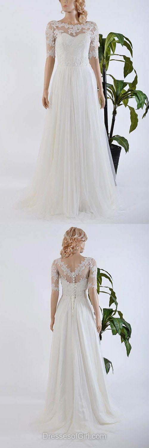 Affordable A-line Wedding Dresses, Scoop Neck Tulle Wedding Dress, Chiffon Bridal Gowns, 1/2 Sleeve Lace Wedding Dresses, Cheap Modest Bridal Dresses