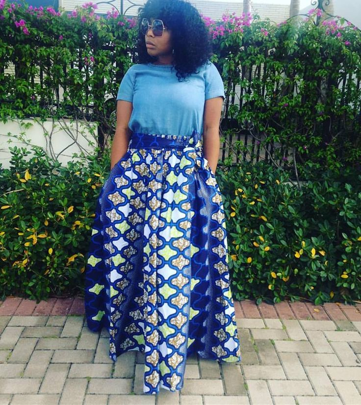 Boca Celebrity Boutique  » One Size African Maxi Skirt Shades of Blue