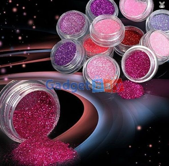 12 Colors Nail Art Decoration Metal Powder Glitter Dust For UV Gel Acrylic With Nice Retail box Buy it on www.gadget-bay.com Free Shipping Europe wide