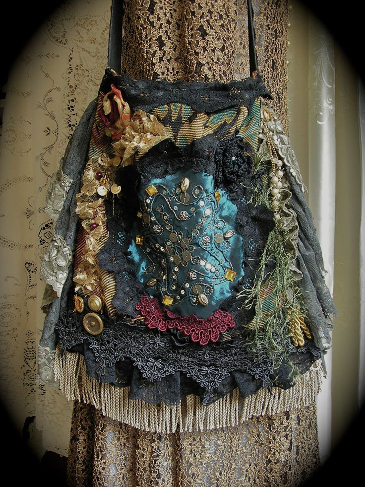 Bohemian Gypsy Purse, handbag handmade slouchy hobo fabric bag embellished lace beads buttons unique OOAK