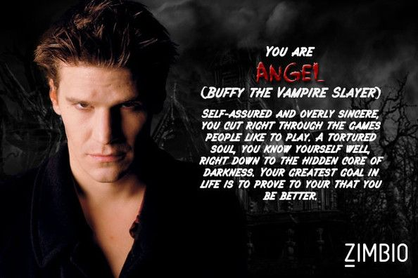 I took Zimbio's vampire quiz and I'm Angel! Who are you? #ZimbioQuiz